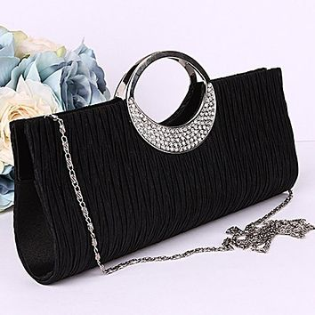 201 New Women Luxury Rhinestone Satin Pleated Evening Bag Party Clutch Purse Handbag