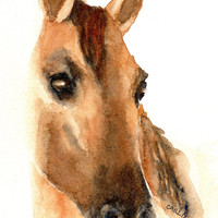 Horse Painting, Original Watercolor, Gift for Horse Lover, 5x7 matted to 8x10, gift ready, Equestrian decor theme, Horse wall art