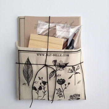 Calligraphy Set with Botanical Tote Bag