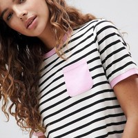 ASOS DESIGN Pocket Stripe T-Shirt With Contrast Binding at asos.com