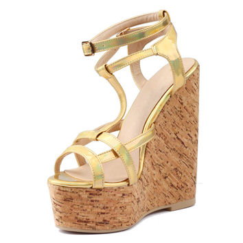 Women's Golden Patent Leather Sandals Lady Wood Grain Platform Gladiator Ultra High Wedge Heel Shoes