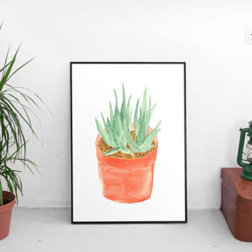 Succulent print, wall art prints, succulent art, succulent, art prints, drawing illustration, watercolor