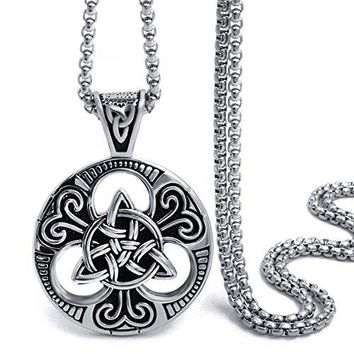 SHIP BY USPS: Elfasio Celtic knot Magic Both Sided Pendant Necklace Men's Stainless Steel Box Chain Jewelry(20-28inch)
