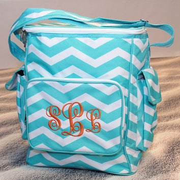Monogrammed Chevron Cooler Tote Bag