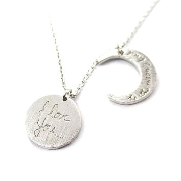 I Love You To the Moon and Back Moon Shaped Charm Necklace in Silver | DOTOLY