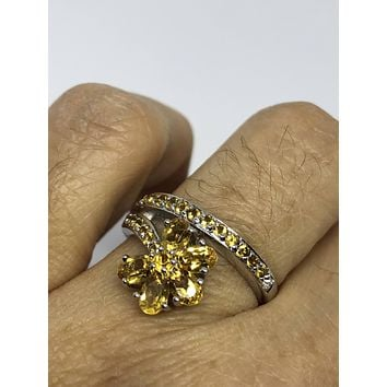 Vintage Gothic Golden Citrine Flower 925 Sterling Silver Ring