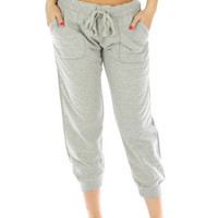 Gray Everyday Capri Cotton Joggers w Pockets