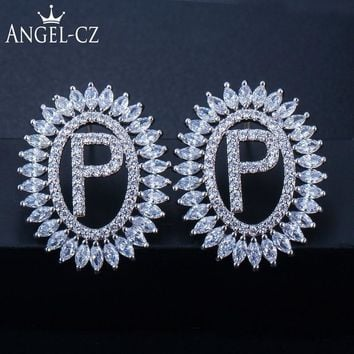 ANGELCZ Custom Initial Letter Cubic Zirconia Big Stud Earrings Fashion 925 Sterling Silver Christmas Ear Jewelry For Women AE208
