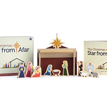 Wooden Nativity Scene Set - The Christmas Star from Afar Book - Use As A Unique Advent Calendar
