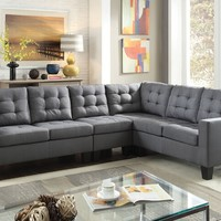2 pc Earsom collection grey linen fabric upholstered sectional sofa