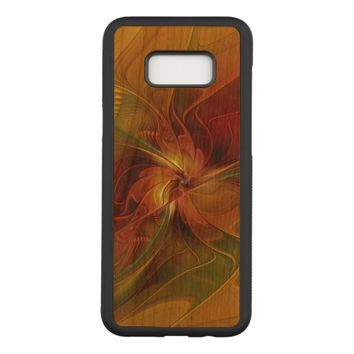 Abstract Red Orange Brown Green Fractal Art Flower Carved Samsung Galaxy S8+ Case