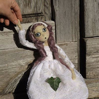 Bride portrait marionette jointed doll, collectible wedding decor, white needle felted OOAK figurine, unique wedding gift