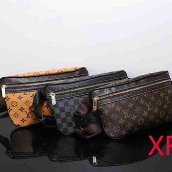 LV Louis Vuitton Trending Women Men Print Leather Zipper Purse Waist Bag Single-Shoulder Bag Crossbody I