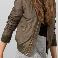 Casual Long Sleeve Zipper Bomber Jacket - US$25.95 -YOINS