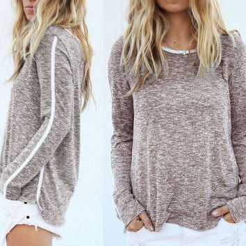 FASHION ROUND NECK SOLID COLOR SHIRT