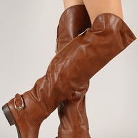 Bamboo Montage-80X Zipper Buckle Thigh High Boot