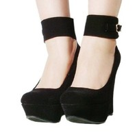 Women's Qupid Black Ankle Strap Platform Wedge Sandal (Worthy90)