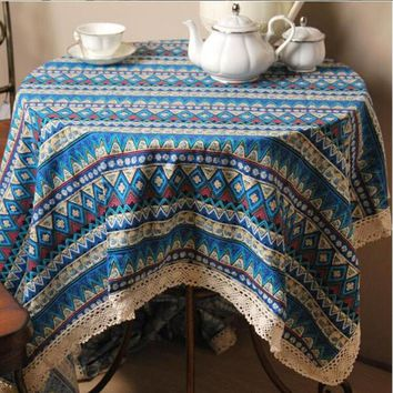 Vintage Lace Embroidered Tablecloth Striped Printing Tablecloths Blue Red Rectangular Table Cloth Wedding Table Cloth Bohemian
