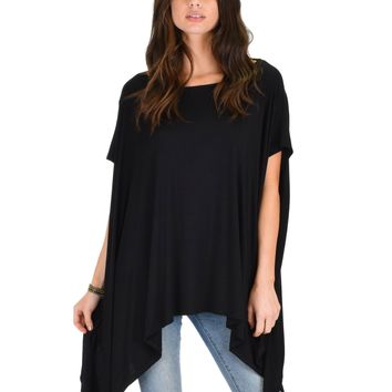 Lyss Loo Somedays Lovin' Comfort Over-sized Draped Black Tunic Top