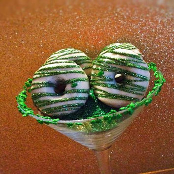 12 Glam St. Patrick's Day Mini Donuts Shamrocks Sweets Table Candy Buffet Wedding Birthday Bridal Baby Shower Favors