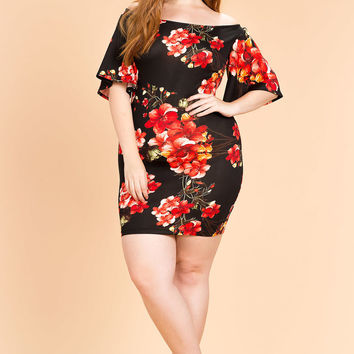 Botanic Ruffle Off Shoulder Dress