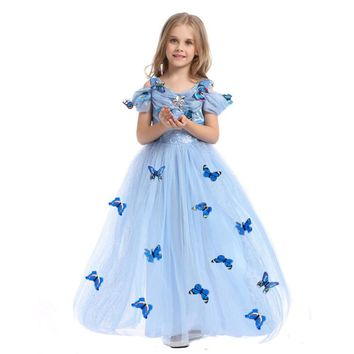 HOT Girl Dress Summer 2017 Kids Dresses for Girl Cinderella Snow Queen Elsa Anna Lace Dress Wedding Dress Party Girl Clothes