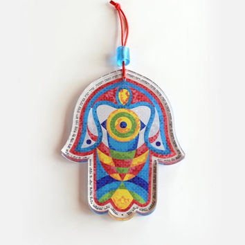 luck symbol Hamsa wall art eye fish dove Blessing Home paint HAMSA Craft Judaica Hamsa wall hanging Home Décor hand of Fatima Fatima hand