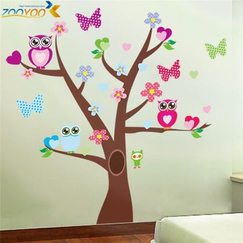hot selling wonderful owl tree wall stickers zooyoo1006 waterpoof diy cartoons animal decals baby room home decoration art 5.0
