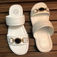 Versace New fashion summer metal slippers sandals shoes White