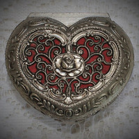 Vintage Jewelry Box Heart Shaped With Filigree Design And Rose Detail
