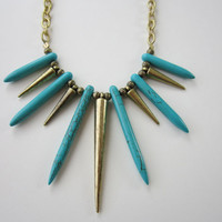 Free Spirit - Turquoise Howlite Dagger & Brass Spike Necklace
