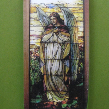 """Tiffany """"Angel II"""" Stained Glass Window Rectangle Glass Tile Paperweight Home Decor"""