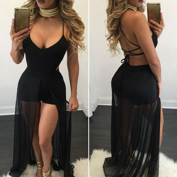 Pants V-neck Sexy Spaghetti Strap One Piece Dress [8998743940]