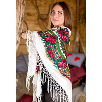 "Ukrainian shawl ""Hustka"". White. Large"
