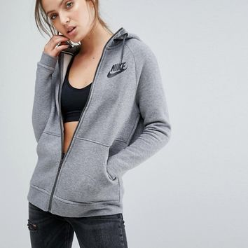 Nike Full Zip Hoodie In Grey With Large Futura Logo at asos.com
