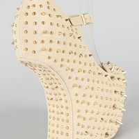 Celine Studded Spike Heel Less Mary Jane Curved Wedge