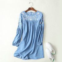 Fashion Women Floral Embroidery Denim Dress O Neck Long Sleeve Casual Summer jeans Dress Vintage Blue Denim Dresses 032110