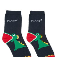 Alligator Print Crew Socks