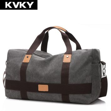 KVKY New Vintage Men Canvas handbag High Quality Travel Bags Large Capacity Women Luggage Travel Duffle Bags Folding Bag bolsas