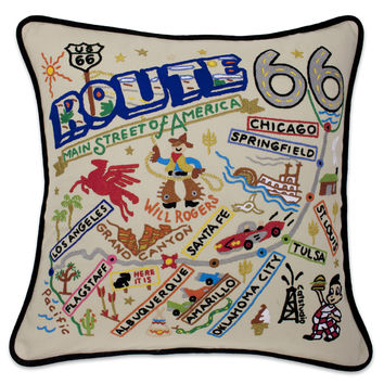 Route 66 Hand Embroidered Pillow