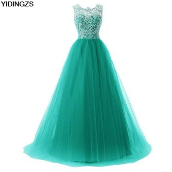 YIDINGZS Tulle Lace A-line Formal Long Bridesmaid Dress Sleeveless Wedding Party Dress 2017 Under 50