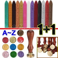 Classic Vintage Alphabet Initial Wax Seal Stamp - Letter A-Z + Sealing Wax Stick