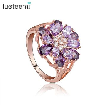 LUOTEEMI Brand New Statement Bridal Big Flower CZ Finger Rings Champagne Gold-color Cubic Zircon Jewelry For Women Wedding Gift