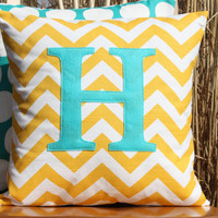 NEW Monogrammed Yellow Chevron and Turquoise Throw Pillow Cover - Nursery/Kid Sized