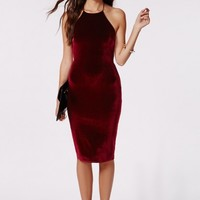 Missguided - Freda Velvet Strappy Midi Dress Burgundy