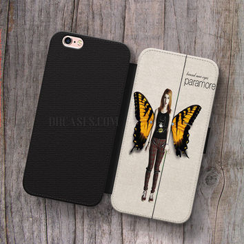 Wallet Leather Case for iPhone 4s 5s 5C SE 6S Plus Case, Samsung S3 S4 S5 S6 S7 Edge Note 3 4 5 Paramore Brand New Eyes Hayley Williams Cases