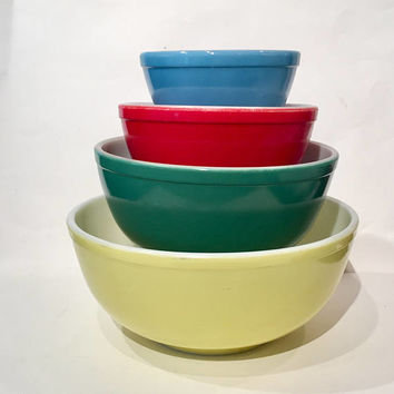 Pyrex Primary Colors Mixing Bowl Set| Vintage Primary Colors Nesting Bowls 401-404