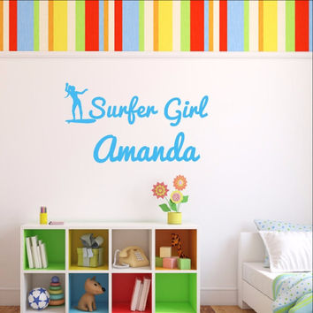 Personalized Surfer Girl Name Vinyl Wall Decal 22438