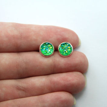 NEW - SMALL Green Chunky Faux Druzy Earrings - Posts/Studs 8mm SMALL