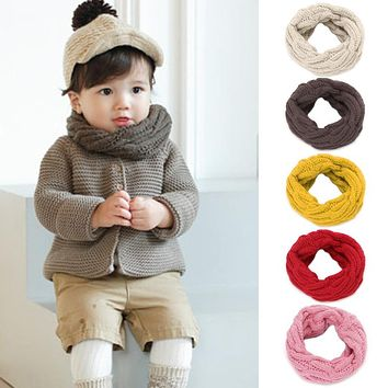 1pcs Winter Warm Knitting Scarf Soft Candy Colors Scarf For Kids Boy Girl